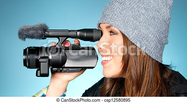 Hip Young Adult Female Points Video Camera - csp12580895