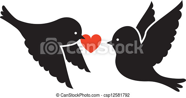 Two Birds Heart Two Birds And Red Heart