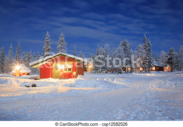 Winter landscape at Night Lapland Sweden - csp12582526