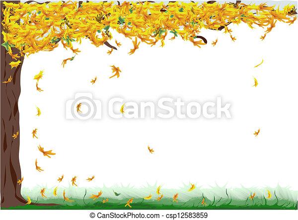 Fall Tree Illustration Tree With Yellow Falling