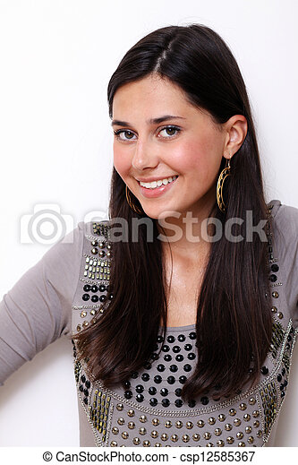 Portrait of young happy smiling woman, isolated on white - csp12585367