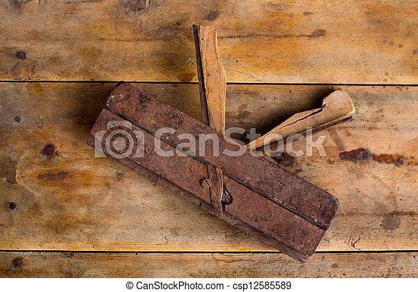 carpenter vintage wood planer tool planer rusted - csp12585589