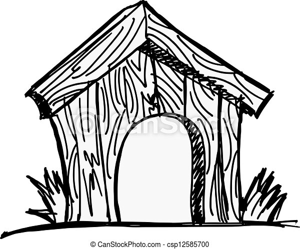 Vector Clipart of dog house - Wooden dog house on the white background ...