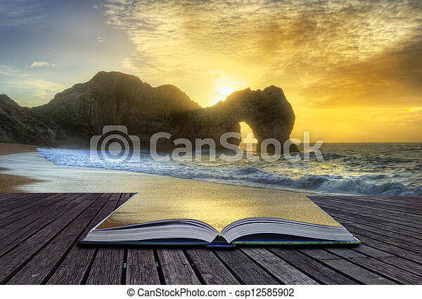 Creative concept image of sunrise over ocean with rock stack in foreground - csp12585902