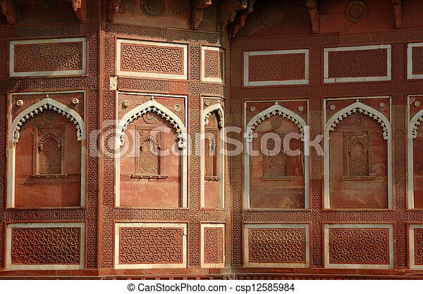 Beautiful ornate wall inside Agra fort,famous landmark - csp12585984