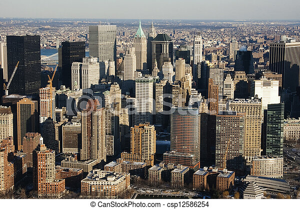 New York City Manhattan skyline aerial view with skyscrapers - csp12586254