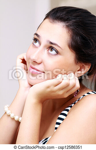 Portrait of young happy smiling woman - csp12586351