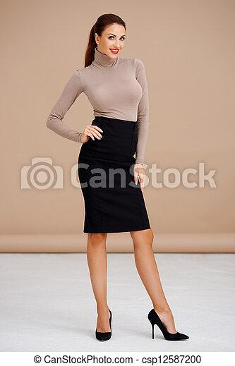 Fashionable brunette - csp12587200