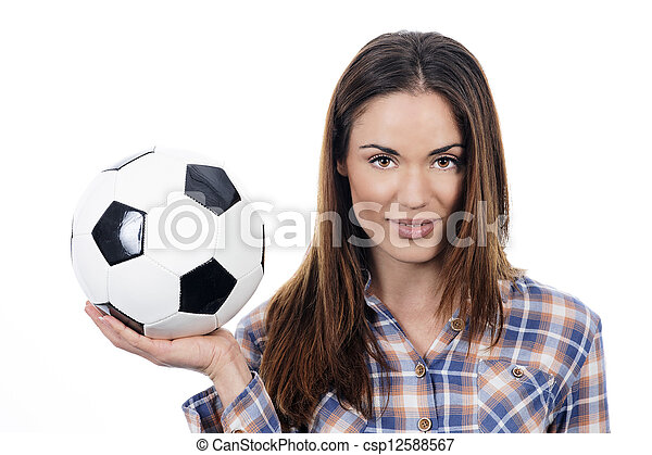 young adult woman with ball - csp12588567
