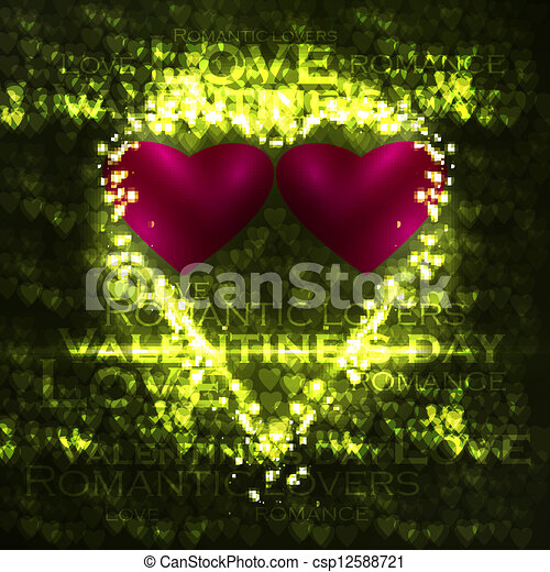 Vector valentines hearts illustration, abstract background , futuristic heart eps10 - csp12588721