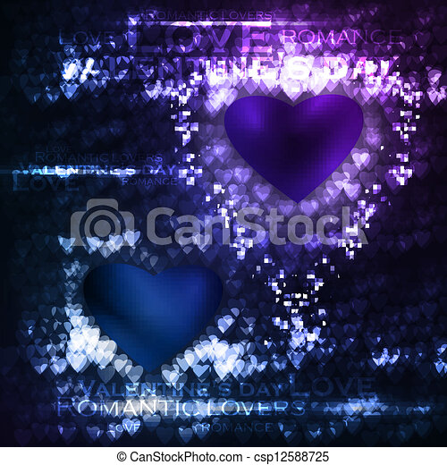 Vector valentines hearts illustration, abstract background , futuristic heart eps10 - csp12588725
