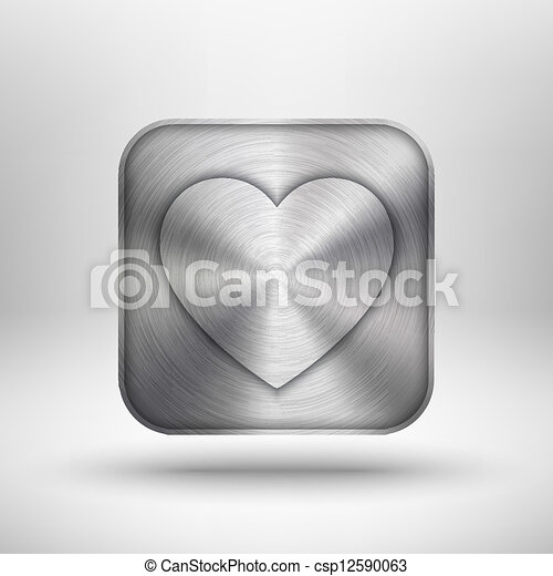 Valentines's Day Icon with Heart and Metal Texture - csp12590063