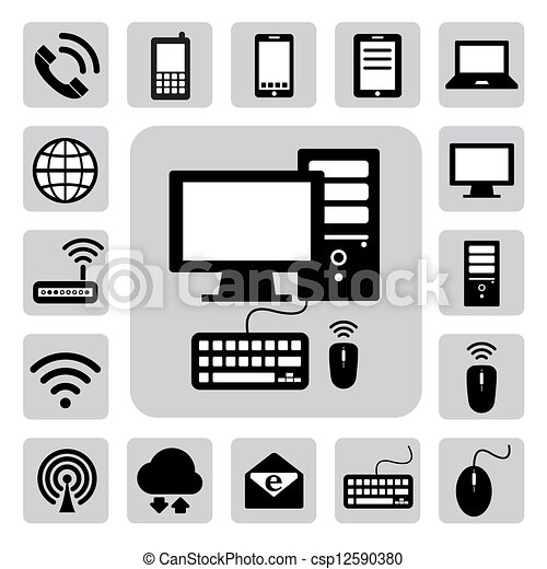 Mobile devices , computer and network connections icons set. Illustration - csp12590380