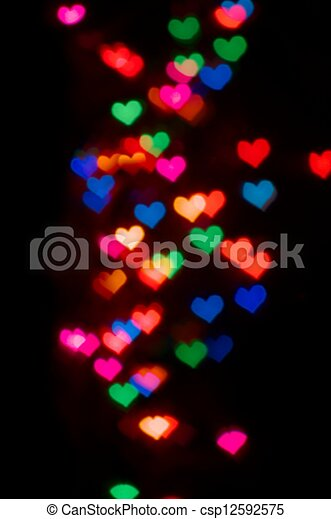 Valentine's Day card background with blur heart bokeh - csp12592575