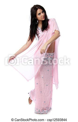 Young pretty woman in indian sari dress - csp12593844