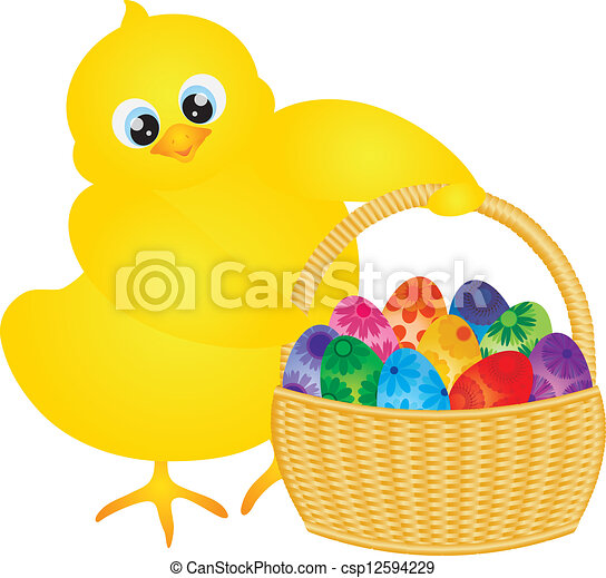 Easter Chick with Basket of Floral Eggs - csp12594229