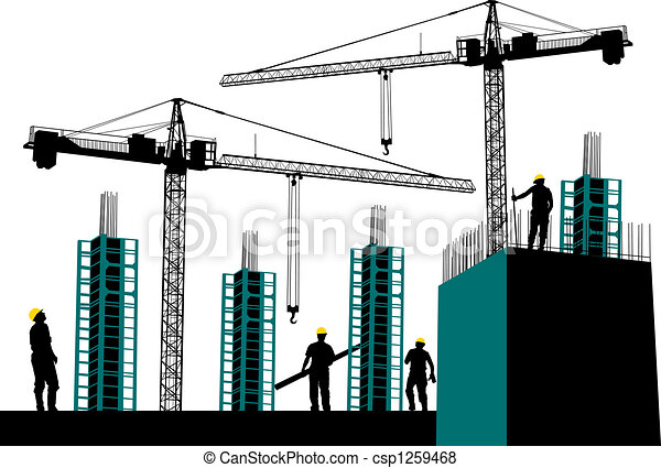 Stock Illustration Of Silhouette Of Construction Site With