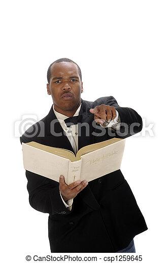 African American preacher giving sermon - csp1259645