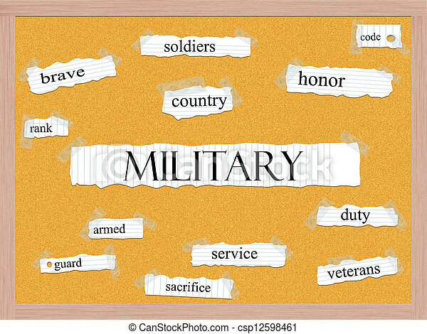 Military Corkboard Word Concept - csp12598461