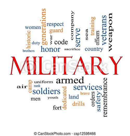militär, begrepp, ord, moln - csp12598466