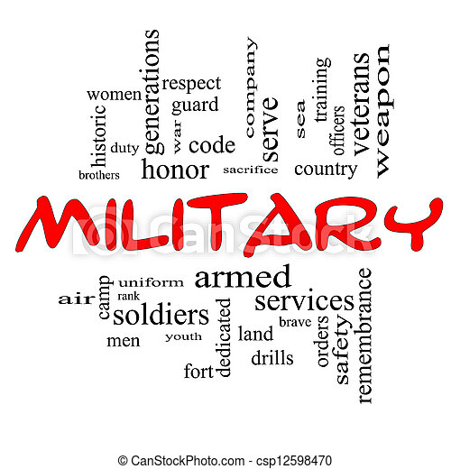 Military Word Cloud Concept in Red Caps - csp12598470