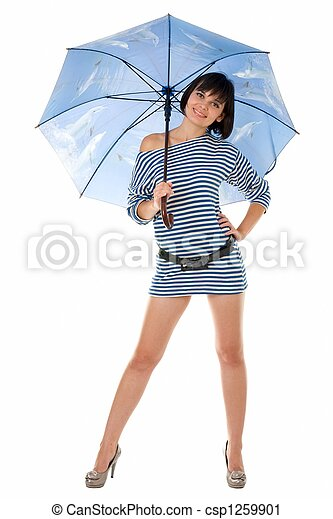 woman in frock with umbrella - csp1259901