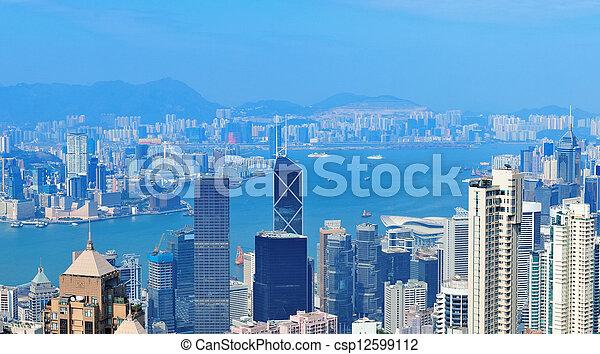 Victoria Harbor aerial view - csp12599112