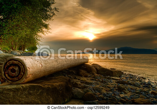 Log on Rocky Shore With Warm Sunset - csp12599249