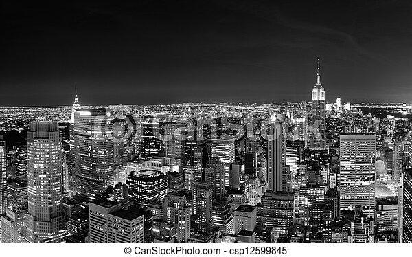 New York City Manhattan skyline at night  - csp12599845