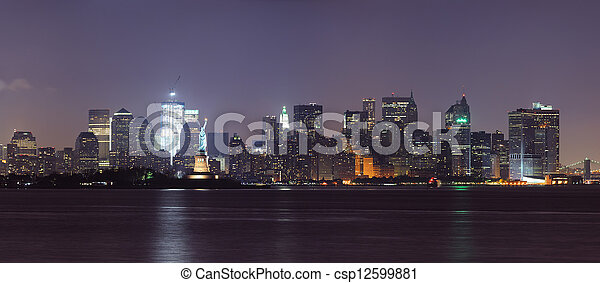 New York City lower Manhattan skyline at night - csp12599881