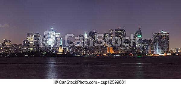 New York City lower Manhattan skyline at night - csp12599881