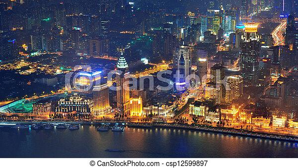 Shanghai aerial at dusk - csp12599897