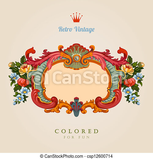 Floral Vintage frame. Retro Greeting card. - csp12600714