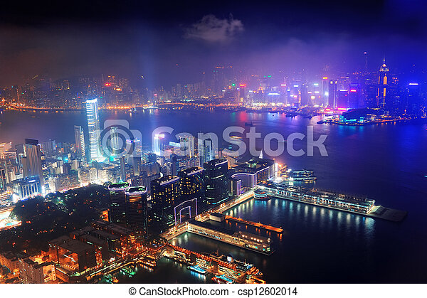 Hong Kong aerial night - csp12602014