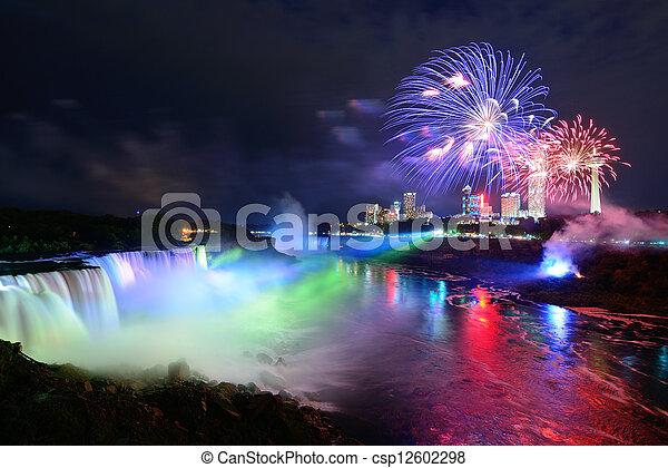 Niagara Falls and fireworks - csp12602298
