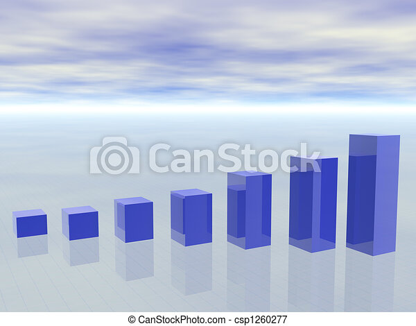 3d concept of growing Business Graph showing profits and gains - csp1260277
