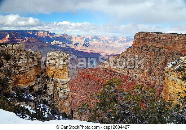 Grand Canyon panorama view in winter with snow - csp12604427