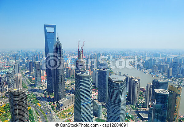 Shanghai aerial in the day - csp12604691