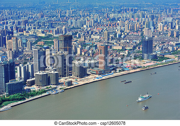 Shanghai aerial in the day - csp12605078