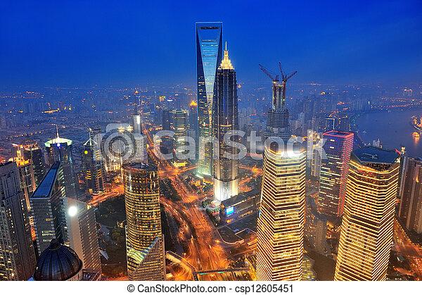 Shanghai aerial at dusk - csp12605451