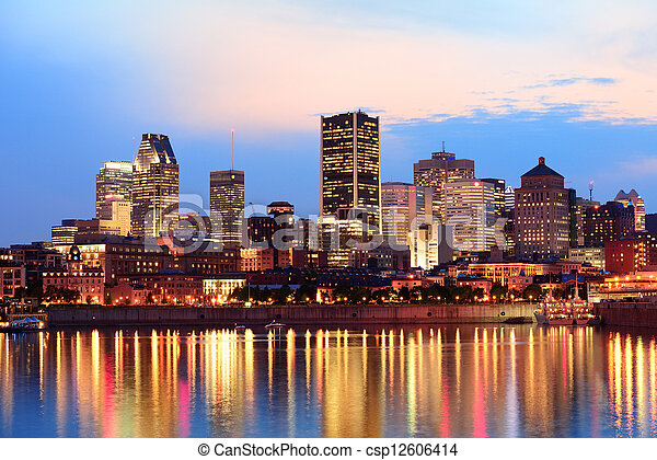 Montreal over river at sunset - csp12606414