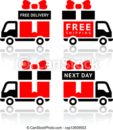 Set of truck red icons - free delivery - csp12609553