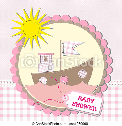 Baby shower scrapbooking card design. vector illustration - csp12609981