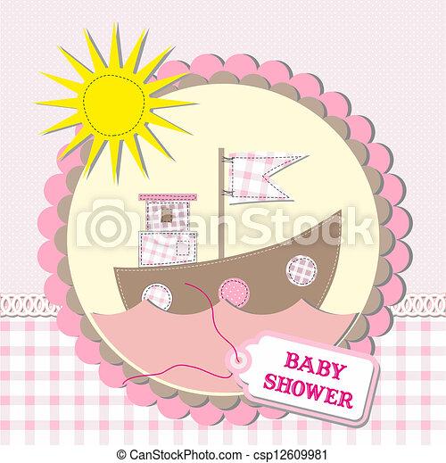 Baby shower scrapbooking card design. vector illustration - csp12609981