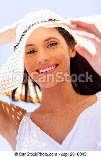 happy young woman with summer hat - csp12610043