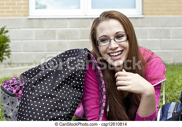 pretty teenage girl laughing