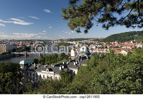 Prague - Czech Government Building, Vltava River and bridges - csp12611955
