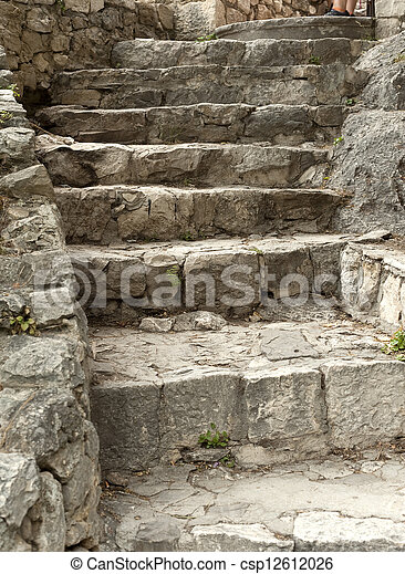 Historic stone stairs in Omis - csp12612026