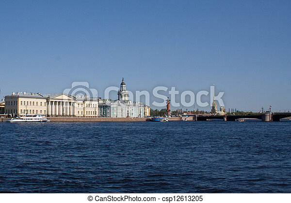 movable bridges on the River Neva. View of the Petrov Palace and Kunstkammer. St. Petersburg. Russia. - csp12613205