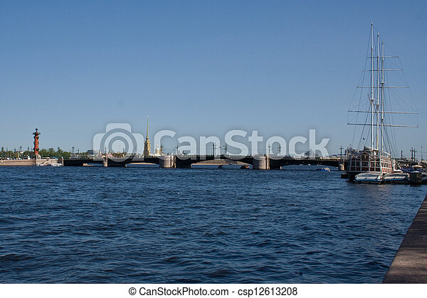 movable bridges on the River Neva and Petrov's Palace. St. Petersburg. Russia. - csp12613208